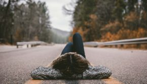 a girl who think on the road